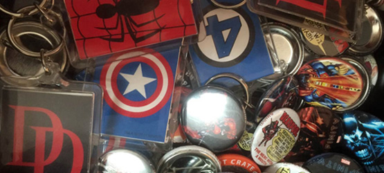 Buttons and Keychains at Mammoth Comics